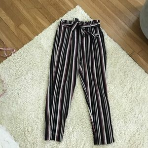 Pants - Tie waist striped pants tapered leg small